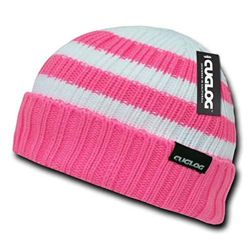 (CUGLOG Shasta Striped Sweater Beanie, Hot Pink)