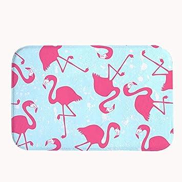 Rioengnakg Pink Flamingos Muster Badteppich Coral Fleece Bereich
