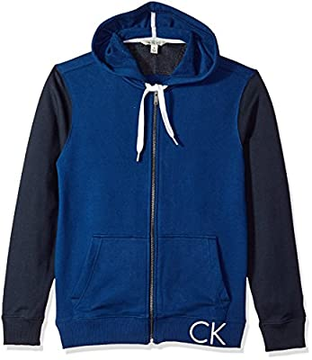 Calvin Klein Men's Full Zip Hoodie With Coloblock Contrast Embroidery