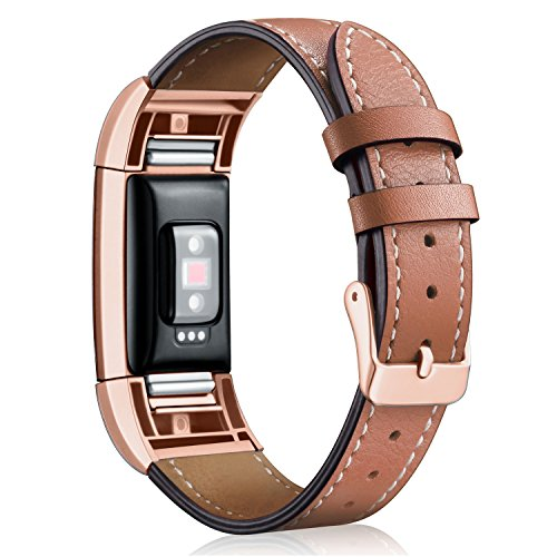 Hotodeal Band Compatible Charge 2 Replacement Bands, Classic Genuine Leather Wristband Metal Connectors, Fitness Strap Women Men Small Large Brown & Rosegold