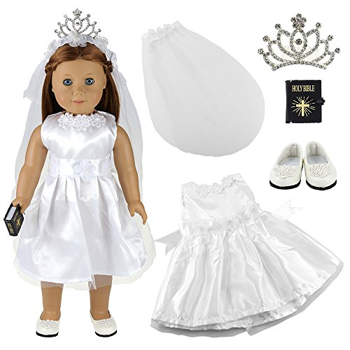 Barwa White Wedding Dress with Veil and Crown Plus Shoes and Bible for 18 Inch American Girl Doll