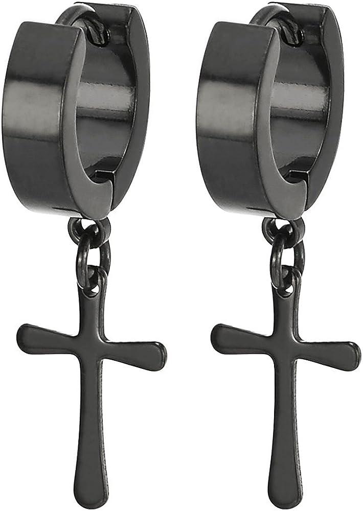 Pair Stainless Steel Black Huggie Hinged Hoop Earrings with Cross Men Women Boys