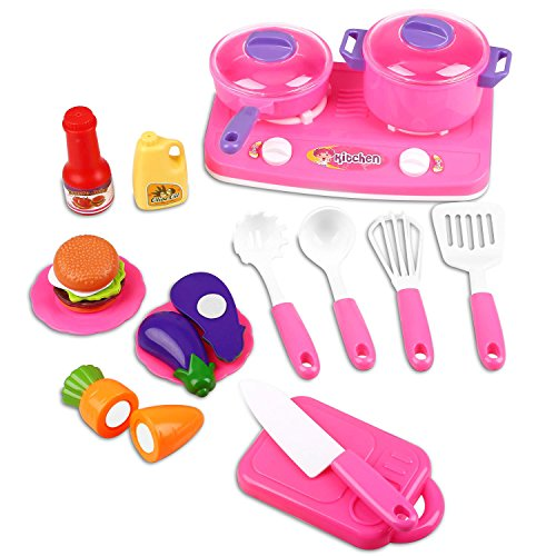 Peradix Play Dishes Kitchen Accessories with Play Food Utensils Cookware Tableware Playset Plates and Bowls Set Children Dish Set Little Chef Pretend Role Play Cooking Toy for Children Kids Toddlers