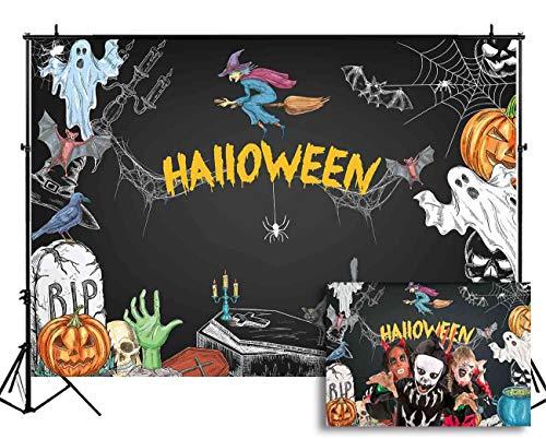 Funnytree 7X5ft Vinyl Halloween Party Backdrop Cartoon Chalkboard Photography Background Pumpkin Witch Ghost Spiderweb Blackboard Kids Portrait Photobooth Photo Studio Props