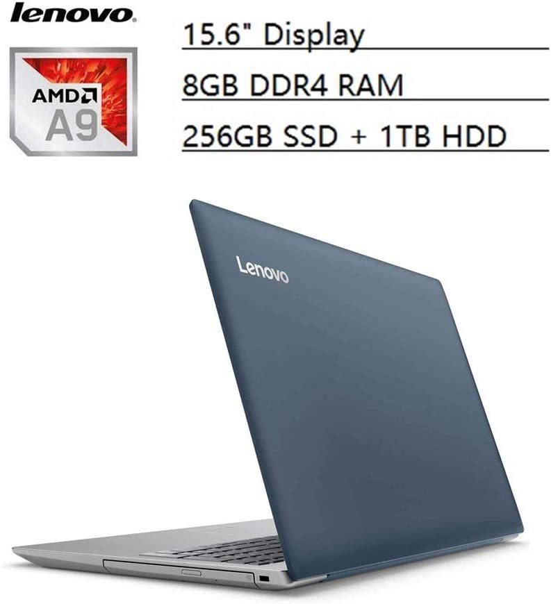 "Lenovo Ideapad Flagship 15.6"" HD Laptop PC, AMD A9-9420 Dual-Core, 8GB DDR4, 256GB SSD, 1TB HDD, AMD Radeon R5 Graphics, NO-DVD, Bluetooth 4.1, Webcam, WiFi, HDMI, USB 3.0, Windows 10 (Blue)"