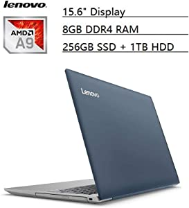 "Lenovo Ideapad Flagship 15.6"" HD Laptop PC, AMD A9-9420 Dual-Core, 8GB DDR4, 256GB SSD, 1TB HDD, AMD Radeon R5 Graphics, NO-DVD, Bluetooth 4.1, Webcam, WiFi, HDMI, USB 3.0, Windows 10 (Blue)"