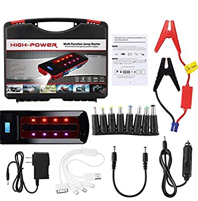Car Jump Starter Build with Air Compressor 10 in 1 set,600A Peak 18000 mAh Jump Pack,With 3USB Ports,1 Emergency Lights/Digital Display for Diesel and Petrol Vehicles(2 rows of colored lights)