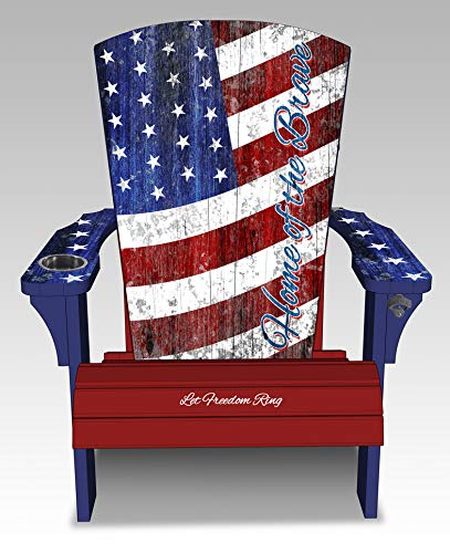 Spring Sale Save $125 Vintage Flag Style Americana USA Adirondack Patriotic Chair Flag Design Porch Deck Fire Pit with Weather Proof Deluxe Cover by Fanirondack (Image #2)