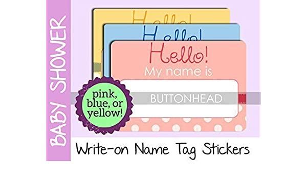 Amazon Com Baby Shower Name Tags Stickers Pink Blue Or Yellow