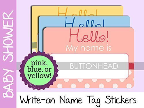 Baby Shower Name Tags Stickers   Pink, Blue, Or Yellow   Set Of 10