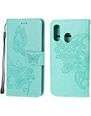 Jorisa Wallet Case Compatible with Samsung Galaxy A20/A30,Embossed Butterfly Flower PU Leather Flip Magnetic Purse Phone Cover with Card Holder Wrist Strap Stand Protective Cover,Green