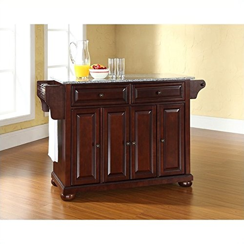 Crosley Furniture Alexandria Kitchen Island with Solid Grey Granite Top - Vintage Mahogany