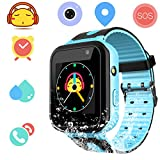 Waterproof Smart Watch for Girls Boys - IP67 Waterproof Children Smartwatch Phone with SIM Slot GPS/LBS Tracker SOS Camera Anti-lost for Summer Outdoor Sports Watch(S7-blue)