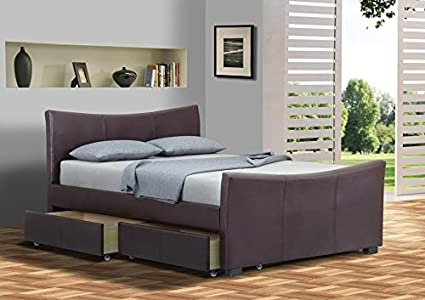 4 cajones de almacenamiento piel trineo cama doble o King Size camas ...