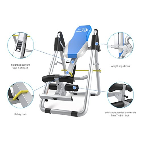 Inversion Therapy Tables for Back Pain Adjustable Therapy Table Foldable Fitness Equipment Back Pain Relief Gravity Inversion Tables for Home Use Sports Equipment Blue