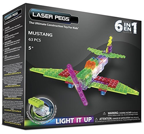 Laser Pegs 6-in-1 Mustang Aircraft Building Set