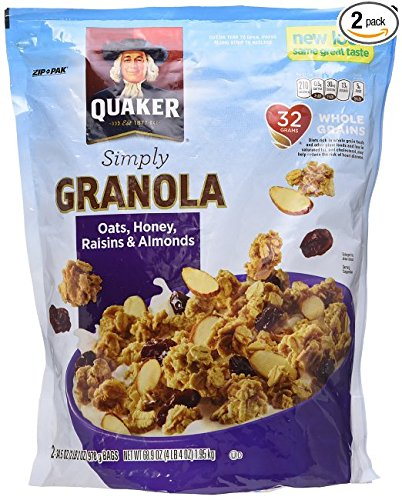 Quaker Natural Granola Oats, Honey, Raisins and Almonds -Family Special Size Two 34.5oz Bags