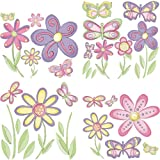 Butterfly and Flower Sheet of Wall Stickers Decals, Baby & Kids Zone