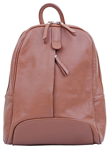 Primo Sacchi? Ladies Italian Textured Leather Backpack Rucksac Grab Shoulder Bag Handbag. Incudes Branded Protective Storage Bag Dark Tan