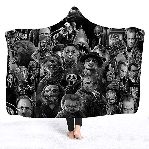 YEARGER Horror Movie Character Hooded Blanket for Adult Gothic Halloween Killers Sherpa Fleece Wearable Throw Blanket Microfiber Bedding -