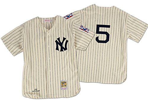 Mitchell & Ness Joe Dimaggio New York Yankees Cooperstown Authentic Throwback Baseball Jersey #5 White Pinstripe (44)