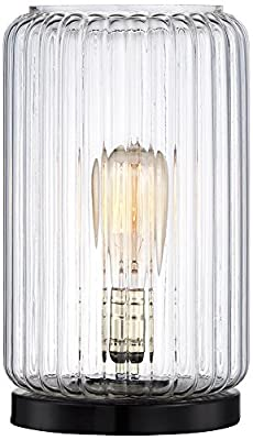 Optic Glass Round Vintage-Style Lamp with Edison Bulb