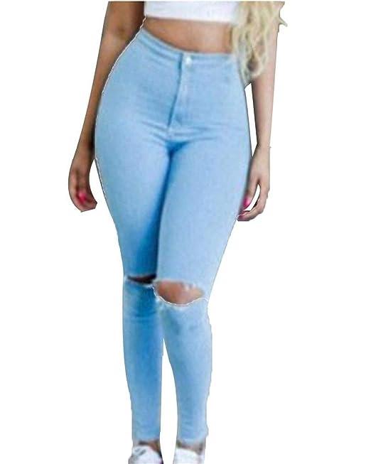 HX fashion Pantalones Vaqueros Ajustados De Cintura Alta De ...