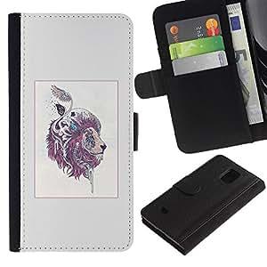 EJOY---Tirón de la caja Cartera de cuero con ranuras para tarjetas / Samsung Galaxy S5 Mini, SM-G800 / --Patrón León colorido Majestic
