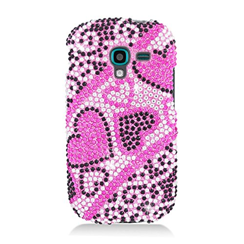 Galaxy Exhibit Case, Eagle Cell Hearts Rhinestone Diamond Bling Hard Snap-in Case Cover For Samsung Galaxy Exhibit SGH-T599, Pink