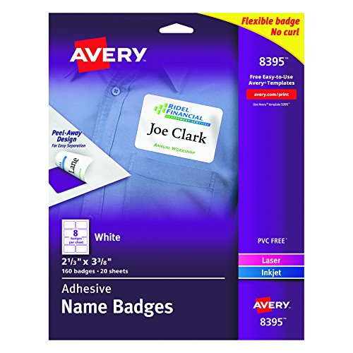 Avery White Adhesive Name Badges, 2-1/3
