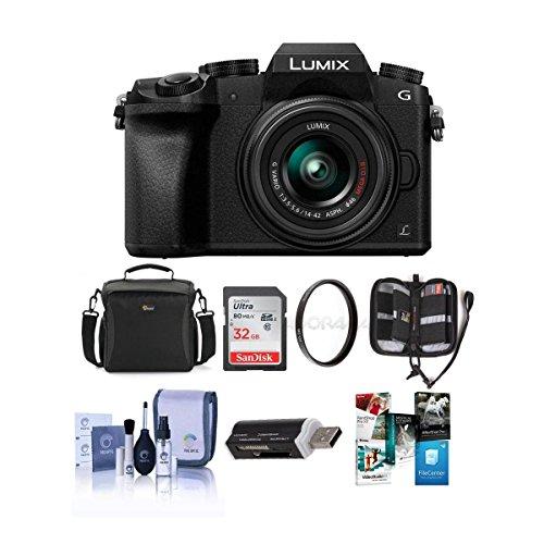 Panasonic LUMIX G7 DMC-G7KS DSLM Mirrorless 4K Camera with 14-42mm Lens Silver w/32GB memory, Bag Accessories Bundle (Bdl Bag)