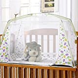 """PePeng Portable Folding Infant Baby Nursery Crib Canopy Mosquito Netting, 31.49"""" x 51.18"""" x 31.49"""", Mesh Toddler Cot Play Tent with Stand (Green)"""