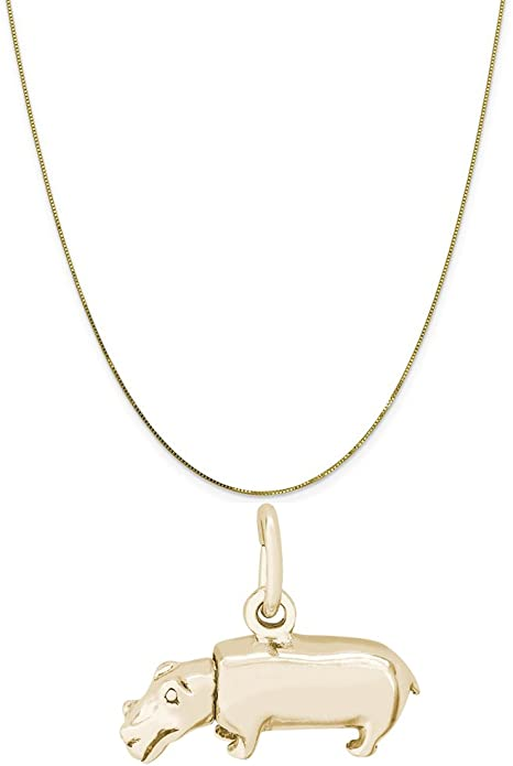 14k Yellow Gold Pig Pendant on a 14K Yellow Gold Rope Box or Curb Chain Necklace