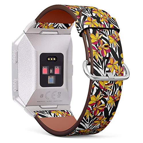 Compatible with Fitbit Ionic Leather Watch Wrist Band Strap Bracelet with Stainless Steel Clasp and Adapters (Flowers Plumeria - Plumeria Clasp