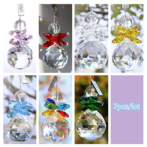 (H&D 7pcs Clear Crystal Ball Pendant Hanging Suncatcher Handcrafts Christmas Glass Ornaments)