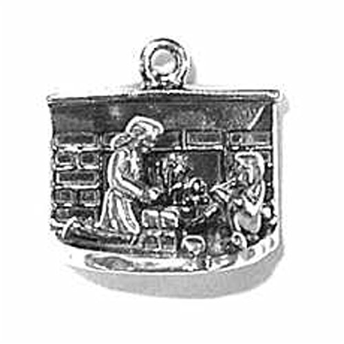 Sterling Silver Womens 18' 1mm Box Chain 3D Christmas Scene By Fireplace Pendant Necklace