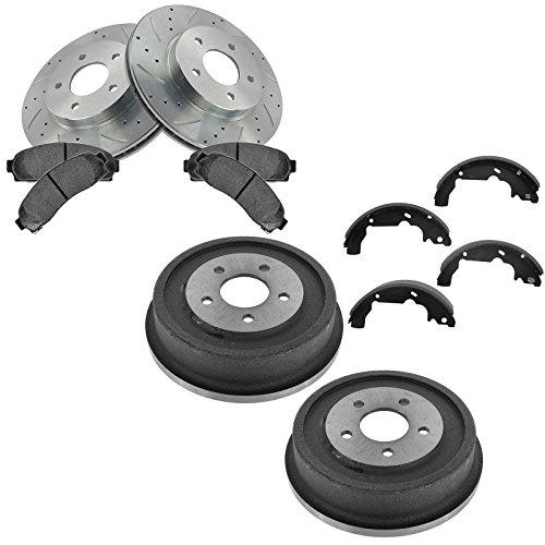 Front Performance Brake Rotor Metallic Brake Pad Rear Drum & Shoe Kit