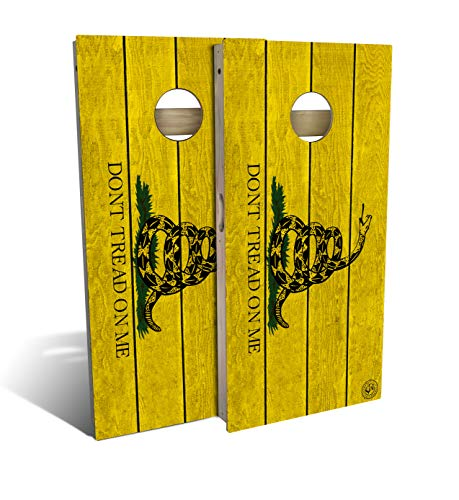 Slick Woody'S Don't Tread on me Cornhole Set with 8 Cornhole Bags, Baltic Birch Plywood Tops for The Smoothest Flattest Playing Surface, Retractable Legs and Back Bounce Brace ()
