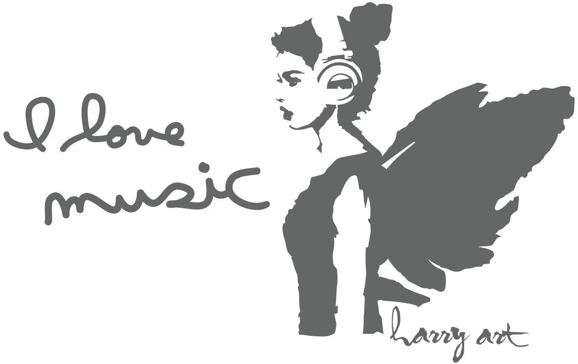 HARRY ART STICKER ウォールステッカー 貼ってはがせる 転写式 I LOVE MUSIC グレー (約90cm×90cm) AHAT0082GRY B016U4CIRW グレー グレー