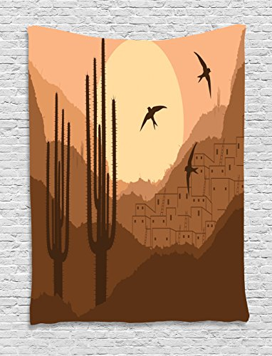Lunarable Country Tapestry, Wild Desert Canyon Mexican Town Sundown Hot Weather Swallow Silhouette, Wall Hanging for Bedroom Living Room Dorm, 40 W X 60 L Inches, Brown Burnt (Canyon High Country Rug)