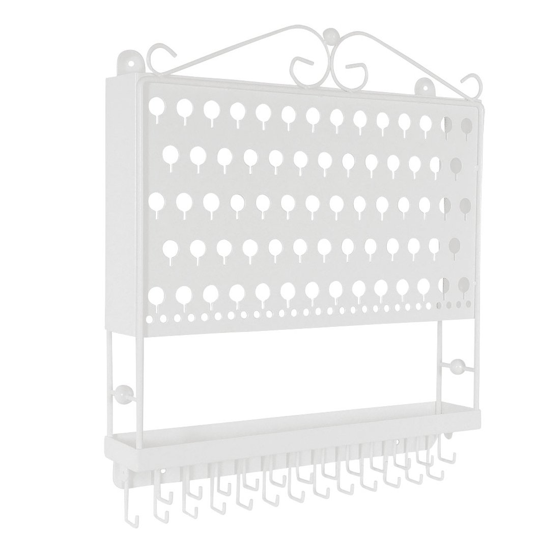 Designers Impressions JR20-WH White Wall Mounted Organizer Necklace Holder Earring & Jewelry Display Rack with Tray