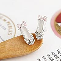 New Lovely Ladies Rhinestone Ballet Shoes Bowknot Stud EarringsCute Gifts
