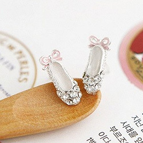 New Lovely Ladies Rhinestone Ballet Shoes Bowknot Stud EarringsCute Gifts ()