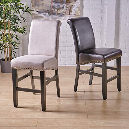 - Great Deal Furniture 238542 Clifton Brown Leather Counter Stools w/Brass Nailheads (Set of 2),