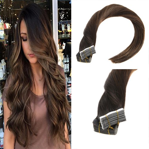 Sunny 18inch Remy Straight Tape in Hair Extensions Human Hair 40pcs 100g Color #2 Fading to Dark Brown Mixed Honey Brown Colorful Highlight Balayage Skin Weft Hair Extensions For Sale