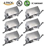 Four Bros Lighting | 6 Pack 6'' Slope New Construction LED Can Air Tight IC Housing Recessed Lighting - for Sloped Ceilings | Compare to Halo H645IC