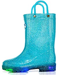 Toddler Kids Light up Rain Boots Waterproof Lightweight Glitter Boots Collection with Handle (Blue/Purple/Silver)