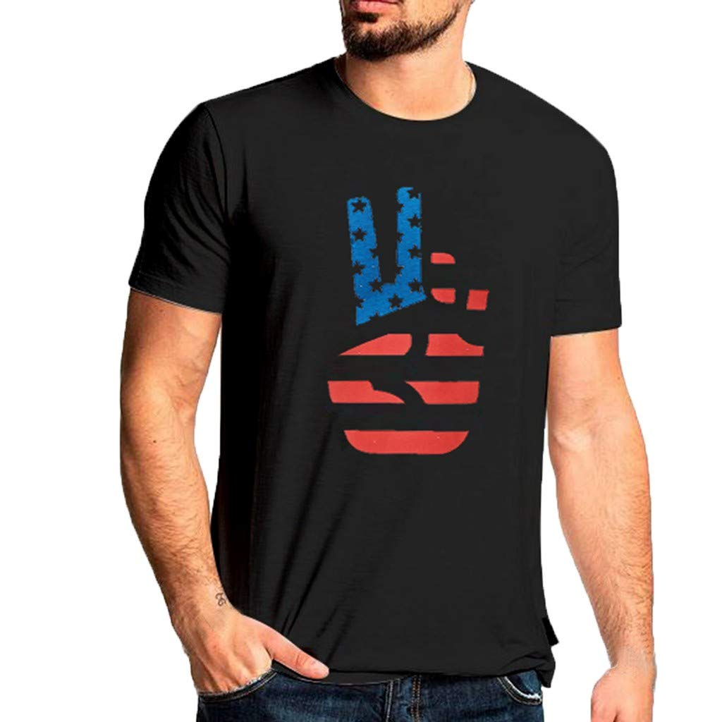 Men's Shirts Regular Fit New Independence Day Printed Short Sleeves T-Shirt Tops (XXL, Black)