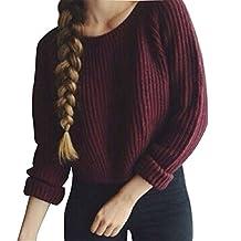 Kinghard Women Long Sleeve Red Loose Knitted Short Sweater Jumper