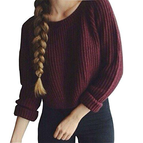 Kinghard Women Long Sleeve Red Loose Knitted Short Sweater Jumper (S)